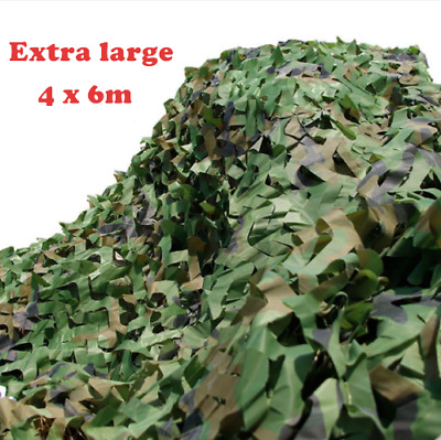 Extra Large Army Camouflage Net Camo Net Camping Shooting Hunting Hide 4mx6m Bag • 19.54£