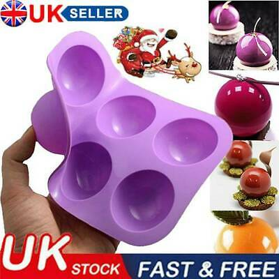 6-Holes Half Ball Sphere Chocolate Cake Muffin Pastry Mold Tray Silicone New UK • 3.79£