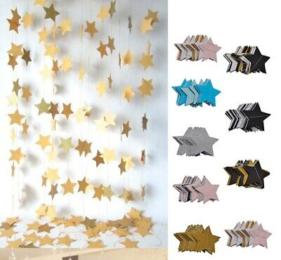 2m Star Gold Silver Garland Hanging Buntings Paper Banner Wedding Party Decor • 4.99£