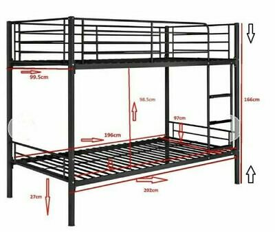 Metal Bunk Bed Frame Twins 2 Beds For Adult Children Kids With Used Matresses • 80£