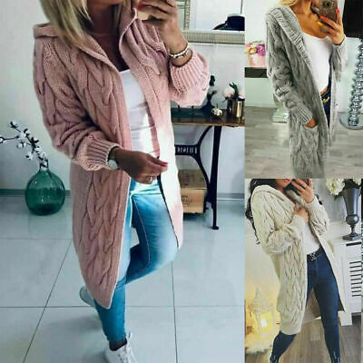 Womens Chunky Cable Knitted Oversized Longline Hooded Cape Ladies Warm Cardigan • 20.45£
