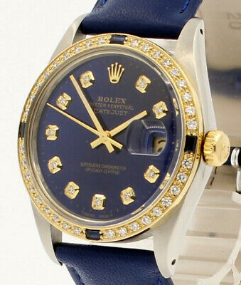 $ CDN7113.58 • Buy Mens Vintage ROLEX Oyster Perpetual Datejust 36mm Blue DIAMOND Dial Watch