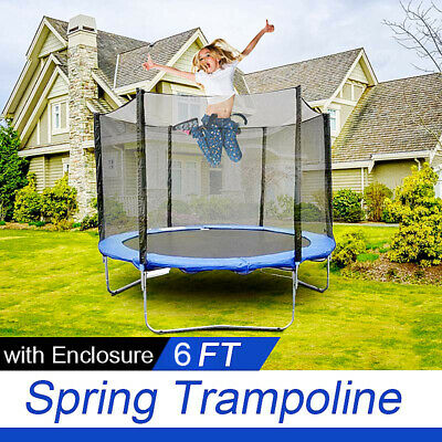 AU149 • Buy 6 FT Trampoline Enclosure Set +  Safety Net + Ladder Outdoor 3 Legs 6 Poles