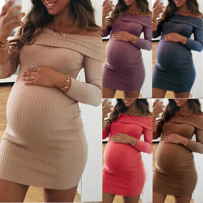 Sexy Slim Womens Pullover Sweater Dresses Maternity Off The Shoulder Short Dress • 16.99£