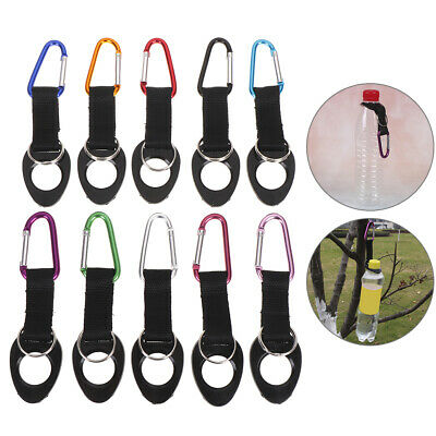 Hiking Water Bottle Holder Hook Belt Clip Aluminum Silicone Carabiner Key Ribp • 3.75£