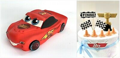Unofficial Lighting McQueen Cars Handmade Edible Birthday Cake Topper(11 Pieces) • 67.99£
