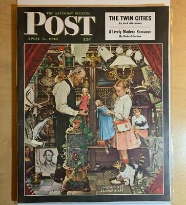 $ CDN32.18 • Buy The Saturday Evening Post April 3, 1948 Norman Rockwell April Fool's Cover NICE!