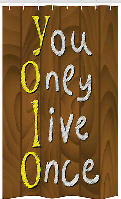 YOLO Stall Shower Curtain Wooden Rustic Board Words • 17.99£