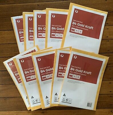 AU74.99 • Buy ENVELOPES B4 Gold Craft Peel & Seal 353 X 250mm ~ 10 Packs Of 25 = 250 Envelopes
