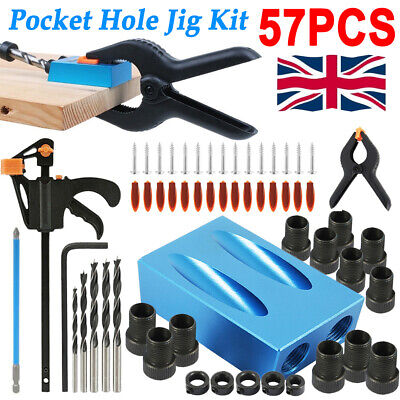 £10.66 • Buy 57PCS Pocket Hole Jig Kit Set Woodworking Guide Oblique Drill Angle Hole Locator