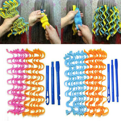 48 Pcs 55CM Magic Long Hair Curlers Leverage Spiral Rollers Styling Tool + Hook • 16.74£