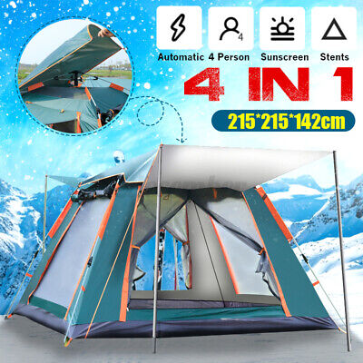 AU90.66 • Buy AU Fully Automatic Camping Tent 4Person UV Shade Family Hiking Fishing Picnic A