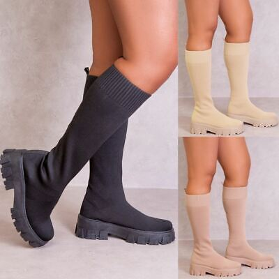 £17.99 • Buy Womens Fashion Padded Chelsea Boots Chunky Platform Sole Winter Ankle Shoes New