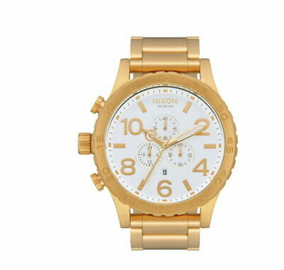 £114.54 • Buy NEW Nixon Watch 51-30 Chrono A083508 Gold And White Mens A083-508 Genuine