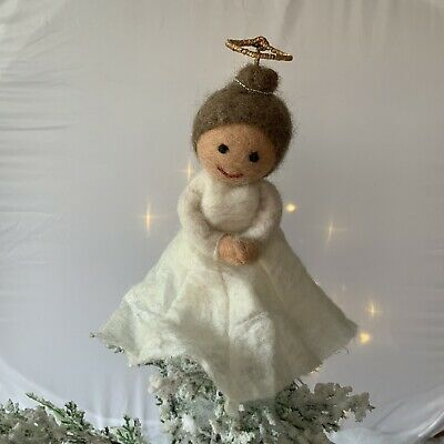 Fair Trade Angel Tree Topper Christmas Tree Decoration Felt Wool Fairy White  • 13.99£