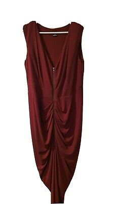 AU14 • Buy City Chic Sleeveless Bodycon Dress With Ruche Detail Size XS Maroon/Burgundy/Red