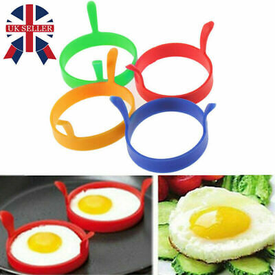 4 X Silicone Egg Frying Rings Fry Fried Poacher Mould Perfect For Pancakes Ring • 3.99£