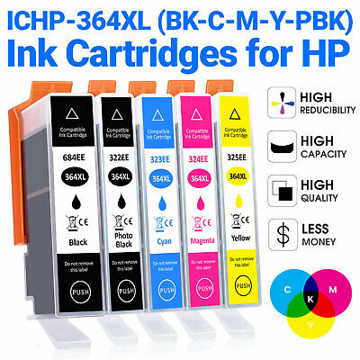 5 BVH 364xl Ink Cartridges For HP Photosmart 5510 5515 5520 5524 6510 C6380 • 7.49£