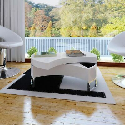 White High Gloss Modern Rotating Storage Space Solid Coffee Table Home Furniture • 179.99£