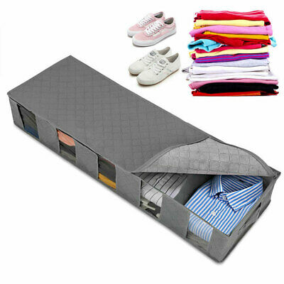 5 Compartments Under Bed Storage Box Large Clothes Shoes Fabric Bag Organiser UK • 10.02£