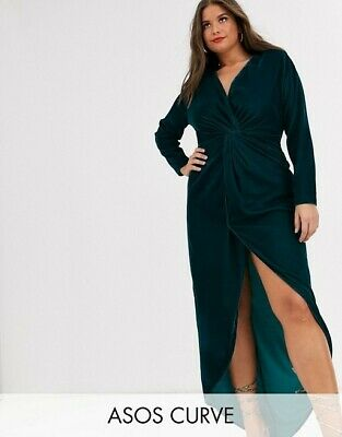 AU29 • Buy ASOS DESIGN Curve Long Sleeve Maxi Dress - Velvet Look - Dark Teal - Never Worn