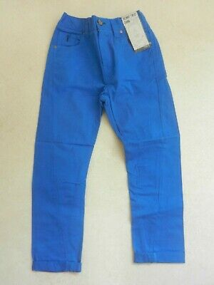 BNWT Next Boys Blue Skinny Twist Chino Trousers Age 8 Years Adjustable Waist • 10£
