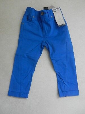 BNWT Next Boys Blue Skinny Twist Chino Trousers Age 3 Years Adjustable Waist • 10£