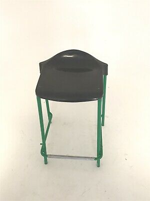 Steelux Retro GLC Design Green Plastic Moulded Seat Science Lab Stool 1970s • 22£
