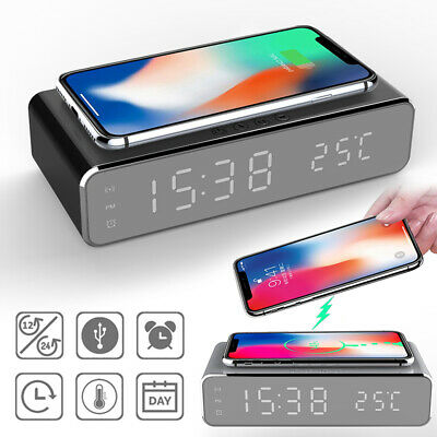 AU26.99 • Buy QI Wireless Charger Desk Alarm Clock For IPhone 11 Pro X XR XS Max 8 Plus