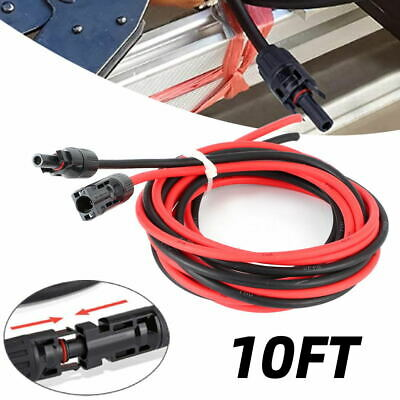 £15.80 • Buy Solar Panel Extension Cable Wire One Pair 2x 10FT Black & Red W/ 10AWG Connector
