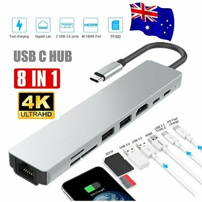 AU42.22 • Buy 8in1 USB-C 3.1 To Type-C USB 3.0 Hub HDMI Ethernet Micro SD TF OTG Adapter AU