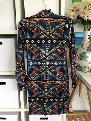 AU5.75 • Buy Asos Pencil Dress Size 14 High Neck Long Sleeve Geometric Print Multicoloured
