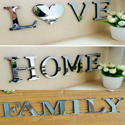 4 Letters Love Home Famly Furniture Mirror Tiles Wall Sticker Self-Adhesive Art • 4.29£