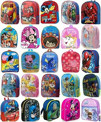 KIDS BOYS GIRLS Backpack Junior Toddlers Character School Travel Lunch Bag • 5.99£