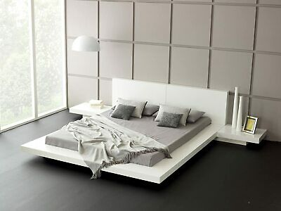 Mattise Glossy White Super King Japanese Platform Bed With Nightstands • 700£