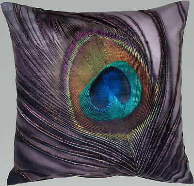 Feather Peacock Velvet Soft Velvet Printed Modern Funky Prints Cushion Cover • 6.99£