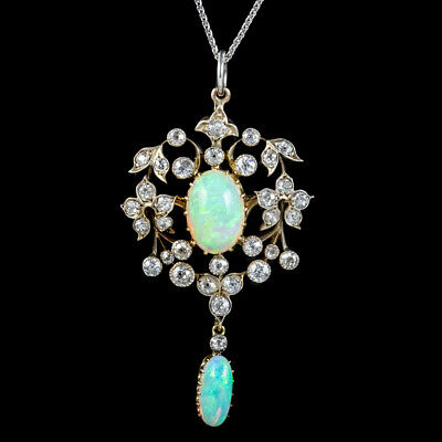 £6300 • Buy Antique Edwardian Opal Diamond Pendant Necklace Platinum 18ct Gold