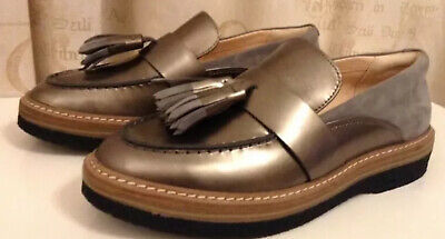 New CLARKS Size 8 ZANTE SPRING Pewter Metallic LEATHER FLAT LOAFERS Shoes❤️EU 42 • 32£