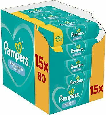 Pampers Fresh Clean Baby Wipes 15x80 = 1200 Wipes • 27.99£