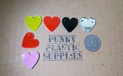 10x Small Heart Acrylic Charms/pendants/cabachons/jewellery Making/crafts • 2£