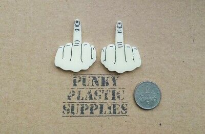 A Pair Of Middle Finger Laser Cut Acrylic Charms/ Cabochons/ Jewellery Making • 2£
