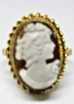 £70 • Buy Cameo Ring In 9ct Yellow Gold Fancy Mount