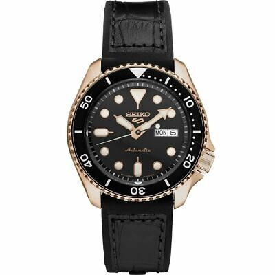 $ CDN402.24 • Buy New Seiko 5 Automatic Rose-Tone Black Dial Leather Strap Men's Watch SRPD76