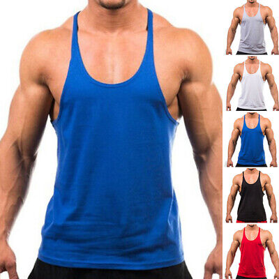 AU11.47 • Buy Mens Sports Bodybuilding Vest Gym Singlet Y-Back Muscle Tank Top Work Shirts