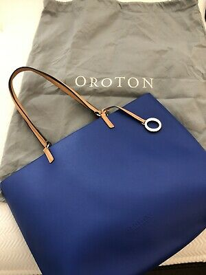 AU45 • Buy Oroton Estate Leather Shoulder Tote Bag Blue