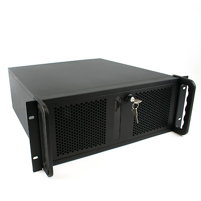 4U Rackmount Computer Chassis Case | 500mm Deep V2 Butterfly Lock | ATX 3x Fans • 94.99£
