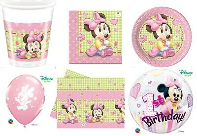 Baby Minnie Mouse 1st Birthday Party Tableware Decorations Girls Baby Shower  • 3.39£