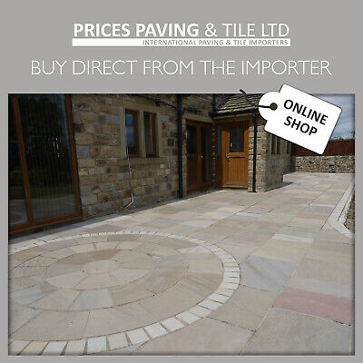 £2.99 • Buy Indian Sandstone Paving Patio Circle Setts Raj Green Buff WITH FAST UK DELIVERY