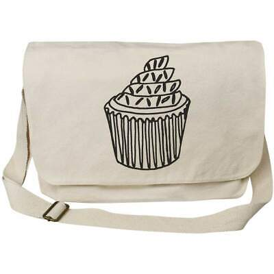 'Cupcake With Sprinkles' Cotton Canvas Messenger Bags (MS002701) • 14.99£