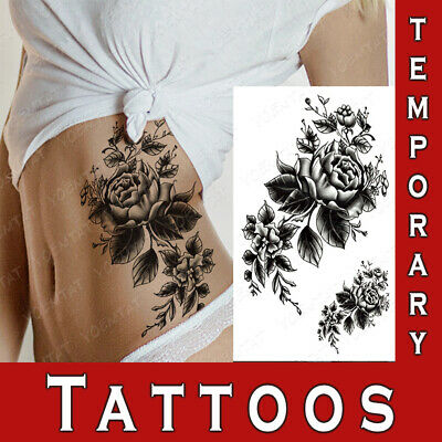 Temporary Tattoo Ornament Realistic Body Art Rose Sticker Waterproof Women • 2.99£